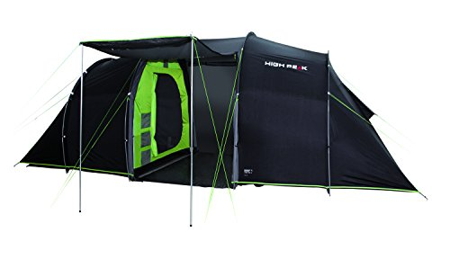 High Peak Tauris 4 Tente familiale Forme Tunnel Mixte Adulte, Anthracite/Vert, L