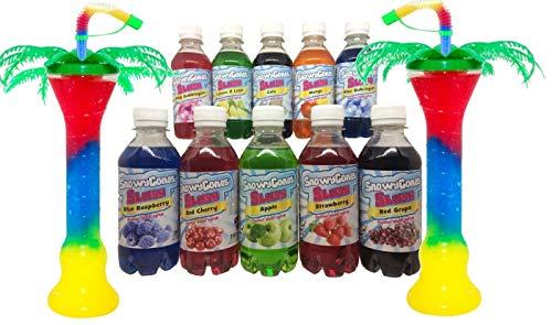 Snowycones Slush Puppy Syrup 10 x 250ml 2 Palm Tree Slush Cups Blue Raspberry Strawberry Pink Bubblegum, Blue Bubblegum Lemon & Lime Cola Mango Red Cherry Apple Grape Will Make 17.5ltrs of Slush
