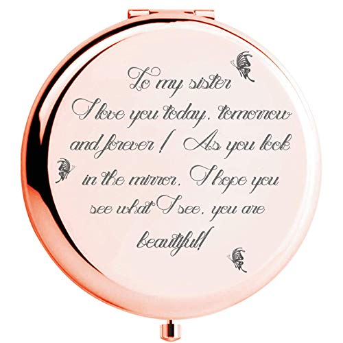 Fnbgl Sister Gifts from Sister Brother, Sisters Birthday Gift Ideas, Rose Gold Compact Mirror with Treasured Message for Mother's Day, Birthday, Christmas, Graduation and Special Celebration