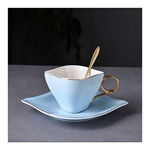 KGDC Tazas de Espresso Copas de café Espresso de cerámica con platillos y Cuchara de Acero 6.8 oz, Taza Hecha a Mano única de Taza de té, Taza de Novedad para Mujeres Abuelita Madres Taza de té
