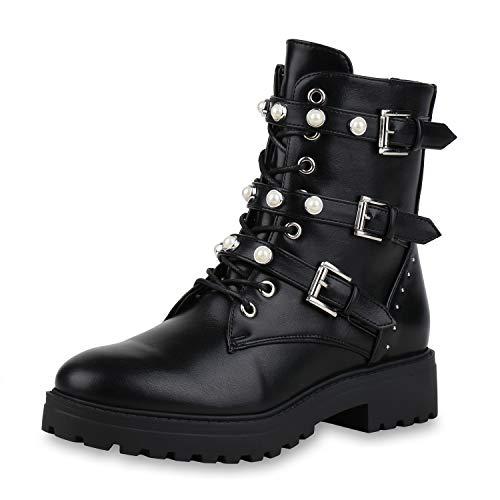 SCARPE VITA Damen Stiefeletten Leder-Optik Plateau Boots Zierperlen Nieten Schuhe Knöchelhohe Stiefel 154034 Schwarz Schwarz Black 40