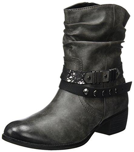 MARCO TOZZI Damen 25306 Biker Boots, Grau (Dk.Grey A.Comb), 38 EU