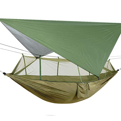 Portable Hammock with Mosquito Net, Ultralight Waterproof Nylon Camping Hammock Tarp Rain Fly Tent Picnic Cloth, 2 Person Hammock with Tree Straps for Hiking Backpacking Travel Beach Yard (ArmyGreen)