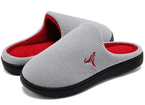 VIFUUR Hombre Zapatillas de casa Espuma de Memoria de Alta Densidad Cálido Interior Lana al Aire Libre Forro de Felpa Suela Antideslizante Zapatos Gris/Rojo 44/45