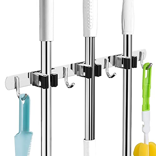 Broom and Mop Holder Wall Mounted Garage Organizer Storage Tool Racks Stainless Steel Heavy Duty Hooks Self Adhesive Solid Non-slip Rustproof Durable Wall Hangers for Home, Kitchen, Garden, Laundry room, Garage Organization and Storage (3 Racks & 4 Hooks)