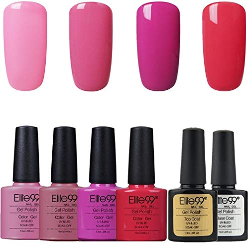 Elite99 Nagellack, semi-permanent, Set mit 6 x Nagellack mit Über- und Unterlack, UV- / LED-Gel, Maniküre-Set, Semi-Permanent, SoakOff, Nagelkunst