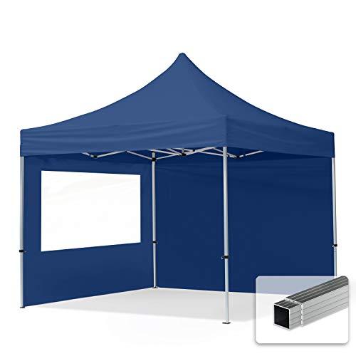 TOOLPORT Faltpavillon Faltzelt Pavillon 3x3m - 2 Seitenteile Aluminium 32mm Partyzelt PES300 100{e849b81c52ec64a85800a2f90d20a7bbc6e7b5c1e194aaf57ca06645aa4f2cf1} wasserdicht blau
