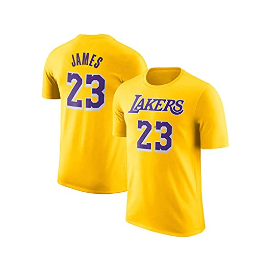 Camiseta de baloncesto Lakers James #23, base de entrenamiento, camiseta de manga corta, cómoda y seca, color amarillo-M