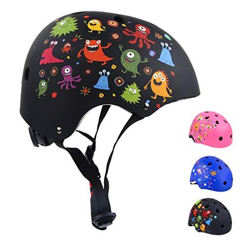 BOLDCUBE Casco Infantil - Ligero, Ajustable y Ventilado - para Niños de 3-8 y 6-10 Años - para Patinar Bicicleta Monopatín BMX (Fiesta Monstruo, 54-58cm (M))