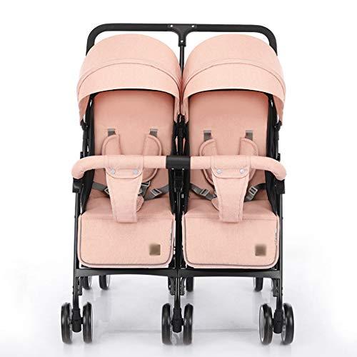 Cochecitos de bebé Jogger Look de Lujo Doble Muñeca Cochecito de niño Plegable Doble muñeca Silla de Paseo con Cesta, manija Ajustable, Ruedas giratorias cochecitos (Color : Pink)