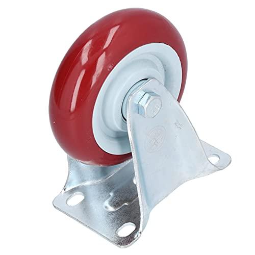 Rueda giratoria, poliuretano y acero inoxidable Rueda fija roja de alta resistencia para equipos livianos para carros de compras para cajas de vuelo para muebles móviles