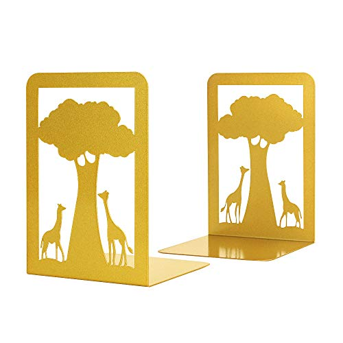 UptoBillions Book Ends, Book Ends for Shelves, Decorative Bookends for Heavy Books, Non-Skip Metal Bookends for School, Home or Office (L, Gold)