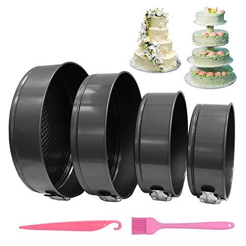 """SILD Cheesecake Pan Springform Pan 4 Pcs (4""""/7""""/9""""/10"""") Detachable Bakeware Sets Stainless Steel Nonstick Leakproof Baking Pan Set Round Cake Pans"""