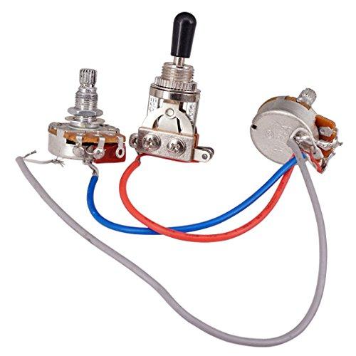 perfeclan Kit de Arnés de Cableado 1 Interruptor de Volumen Y 1 Potenciómetro de Tono de 3 Vías para Juego de Guitarra Eléctrica