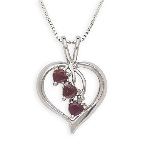 Sterling Silver Heart Cascading Genuine Ruby Necklace - 18 Inch - Spring Ring