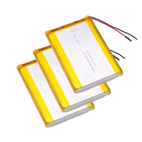 Grehod DVD Tableta GPS batería Recargable 3.7V 10000mAh polímero batería de Litio reemplazo 126090 batería de Litio 3pcs