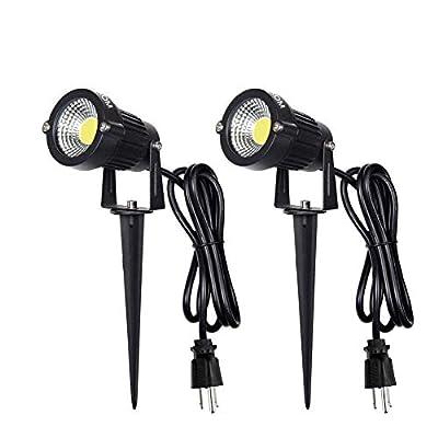 LED Landscape Spotlight Outdoor,IP65 Waterproof Garden Spotlights,5W AC 120V Yard Flood Light,Metal Ground Stake Lawn Lights,3200K LED Spotlight with 1.5M UL-Listed Cord and 3-Plug (Daylight White)