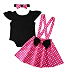 Toddler Girls' Cartoon Ruffle Romper Skirts Set Polka Dot Suspender Skirt Overall Dresses(Pink,2-3T)