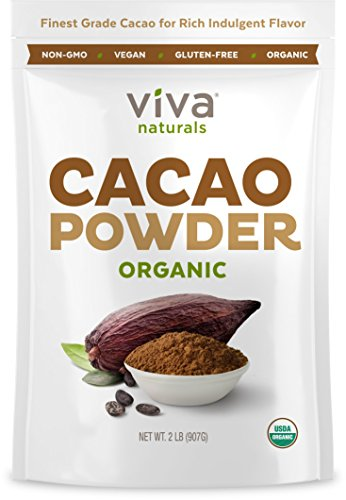 Viva Naturals Certified Organic Cacao Powder from Superior Criollo Beans, 2 LB Bag …