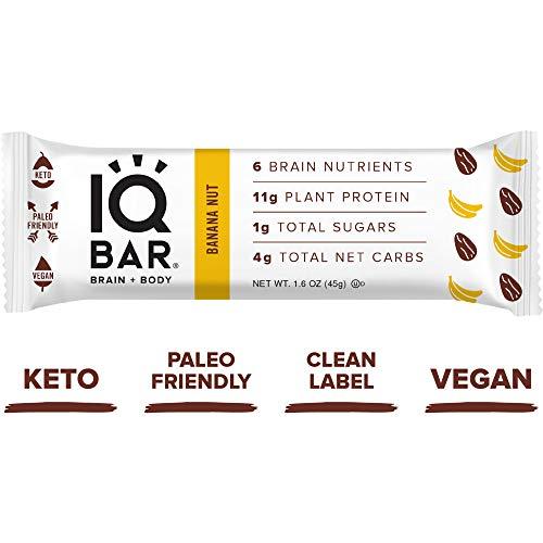 IQ BAR Brain + Body Bars, Banana Nut | Keto, Paleo-Friendly, Vegan | 11g Protein, 1g Sugar, 4g Net Carbs | Non-GMO, Gluten-Free, No Sugar Alcohols | 12-Count