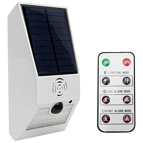 Kaxofang Luz de Alarma Solar, Luz EstroboscóPica Solar con Detector de Movimiento Luz de Alarma Solar, Detector de Movimiento con Control Remoto Blanco