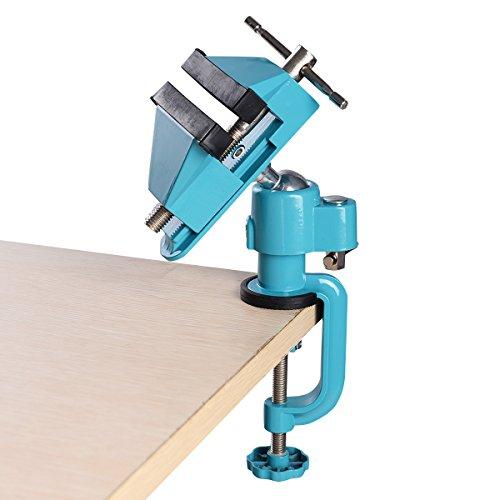 DREAMADE Tischschraubstock, Mini Tisch Schraubstock, 360° drehbar Bankschraubstock Aluminiumlegierung, Feinmechaniker Schraubstock (Blau)