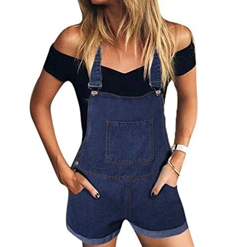 Babao Damen Denim Shorts Jumpsuit Shorts Latzhose