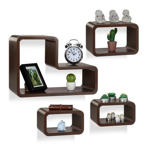 Relaxdays wandrek, set van 4, modern, hangrek, cube, voor boeken, dvd's, decoratie, L-vorm, bruin