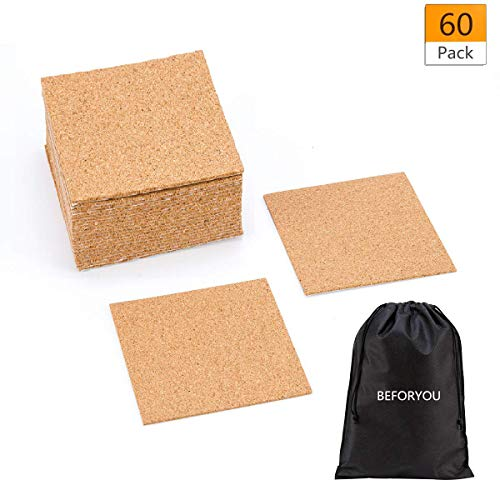"""60 Pack Self-Adhesive Cork Round Squares - 4""""x 4"""" Cork Backing Sheets Mini Wall Cork Tiles for Coasters and DIY Crafts (Square)"""