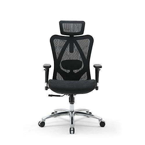 SIHOO 椅子 オフィスチェア デスクチェア 3Dアームレスト 調節可 ヘッドレストとランバーサポート 通気性 高反発メッシュ ロッキング機能 360度回転 無段階昇降 約126度リクライニングチェア 静音PUキャスター 勉強椅子 ワークチェア ブラック