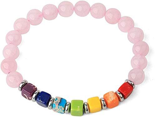 MNMXW Pulseras de Hilo de Piedra Natural Cuadradas 7 Chakra Turquesas Bead Reiki Crystal Brazaletes elásticos para Mujeres (Color del Metal: Howlite) -Rose_Quartz