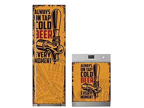 Oedim Confezione in vinile per frigorifero + vinile per lavastoviglie birra goditi il momento; adesivo resistente ed economico, adesivo decorativo dal design elegante