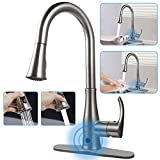 Kitchen Faucets with Pull Down Sprayer, Soosi Touchless Wave Sensor Single Handle Kitchen Faucet High Arc 2-Function Kitchen Sink Faucets Brushed Nickel One&3 Hole Deck Mount,Spot Free Stainless Steel