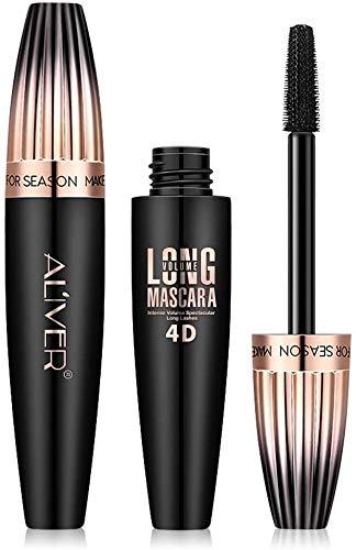 Mascara Black Waterproof, 4D Silk Fiber Lash Mascara for Longer, Thicker, Voluminous Eyelashes, All Day Exquisitely Long, Thick, Smudge-Proof Eyelashes