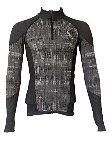 Odlo Men's Blackcomb Black Medium Long-Sleeve Half-Zip Baselayer Shirt