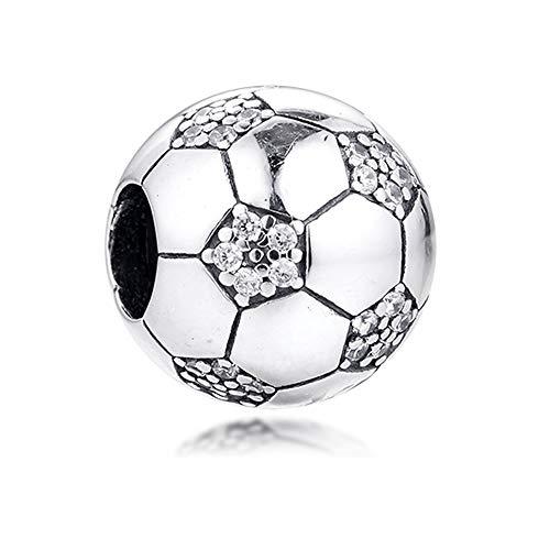 CHICBUY 2020 - Ciondolo a forma di pallone da calcio, in argento 925, adatto per braccialetti Pandora originali