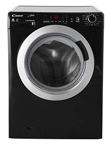 Candy GVSW 496DCAB Freestanding Grand'O Vita Washer Dryer, NFC Connected, 9kg Wash/6kg Dry Load, 1400rpm, Black