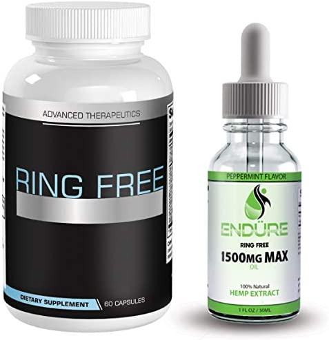 Ring Free Tinnitus Relief Supplement and 1500mg Hemp Oil End Tinnitus Naturally and Ear Ringing product image
