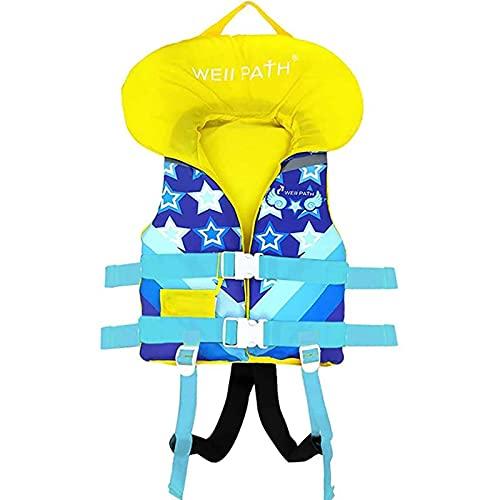 GLEYDY Chaleco Salvavidas Niño, Chaleco De Flotabilidad Profesional, Ajustable Deportes Acuáticos Chaleco Salvavidas De Natación para Niños Adultos Seguridad Flotante,Azul,L