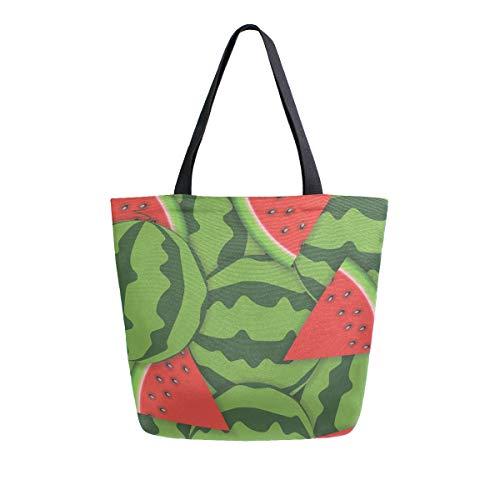 Bolso de Lona para el Hombro de la Marca Fashion Casual Reutilizable con diseño de sandía Verde para Hombres y Mujeres