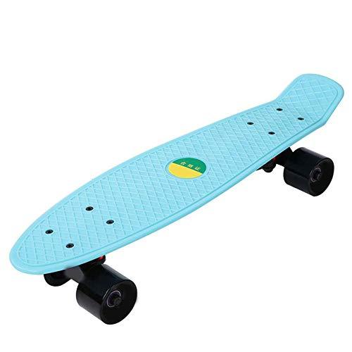 Keen so Outdoor Sports 4-Rad Skateboard, 2 Farben weiches vierrädriges 56,5 cm Mini Cruiser Skateboard Street Longboard für Erwachsene oder Kinder(Hellblau)