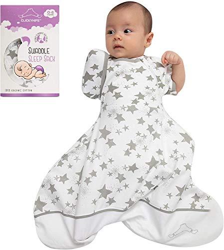 Saco de dormir para bebé, algodón orgánico, para 0 – 6 meses, ajustable, con brazos para bebés, parte inferior extra ancha, elegante manta para llevar – ropa de dormir de bebé de primera calidad