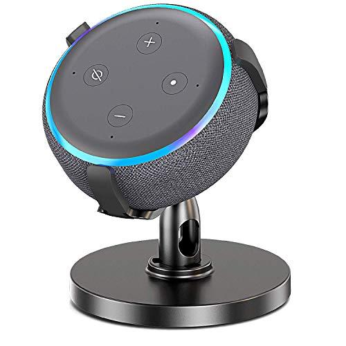 Bovon Support pour Echo Dot 3, Support Table pour Dot (3ème Génération), 360° Réglable Support de Fixation pour Home Voice Assistants, Améliore la Visibilité du Son et l'aspect