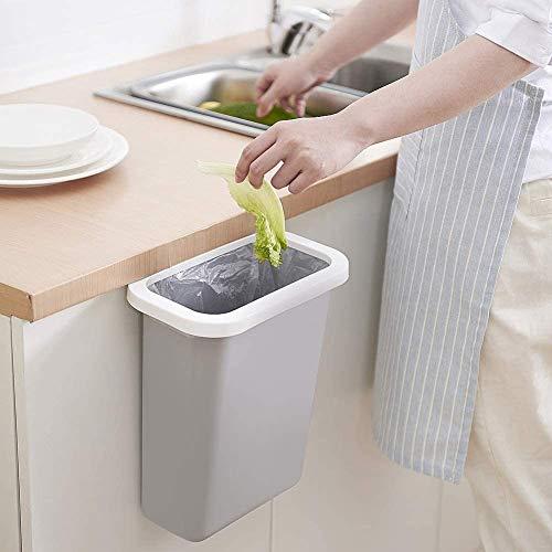 Hängende kleine Mülltonne mit oberem Ring zur Befestigung des Müllsacks für Küchenschranktür und Badezimmer, Windeleimer, hängende Mülltonne für Büro und Babybett, 10 l (grau)