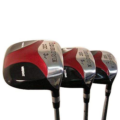 Senior Men's iDrive Red Square Anti-Slice Draw Fairway 3 5 7 Wood Set Golf Clubs, Right Handed Senior Flex with Premium Men's Arthritic Grip