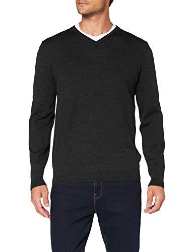 Pierre Cardin Herren V-Neck Strickpullover Pullover, Anthra, XL