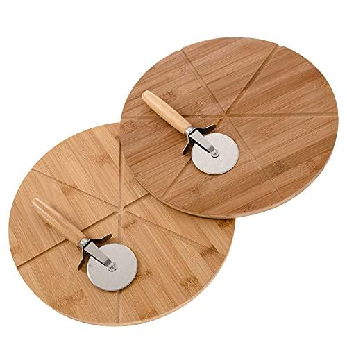 SIDCO 2 piatti per pizza con tagliapizza, in bambù