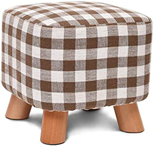 LSLMCS Hocker, quadratische Holzauflage Lagerung Hocker Bank - Stuhl Hocker Stoffbezug 4 Beine und Abnehmbarer Leinenbezug (7 Farben) (Farbe   D)