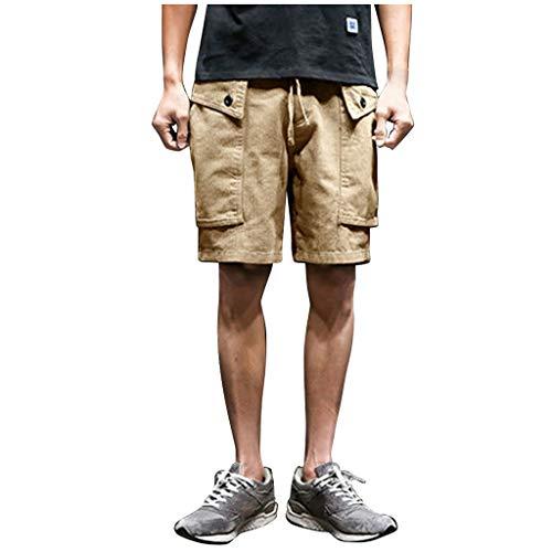 Herren Kurze Hosen Tasche Freizeitshorts Arbeitshose Cargo Shorts Bermuda Sport Jogging Training Stretch Fitness Regular Fit Sweatpants Lässige Jeans (L, Khaki)