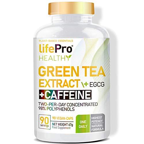 Life Pro Green Tea + EGCG + Caffeine 90 Vegancaps 98% Polyphenols | Tè verde Vegano con caffeina, EGCG e 98% di polifenoli | Antiossidante che aiuta il sistema immunitario